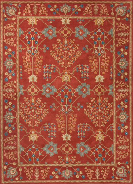 Hand tufted arts and craft pattern wool red blue area rug for Red and blue area rug