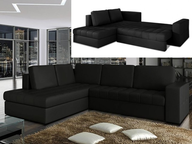 canap d 39 angle convertible en simili tracey noir angle. Black Bedroom Furniture Sets. Home Design Ideas