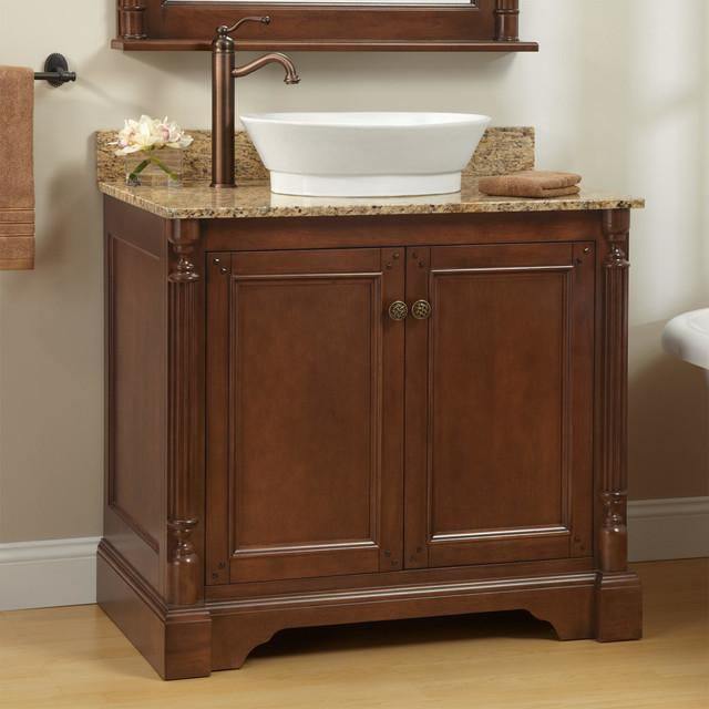 36 quot trevett vessel sink vanity walnut traditional
