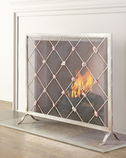 Modern Fireplace Screens Living Room Contemporary With: Giallastro Quartz-Accent Fireplace Screen