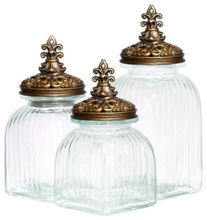 glass polystone canister set of 3 rustic kitchen