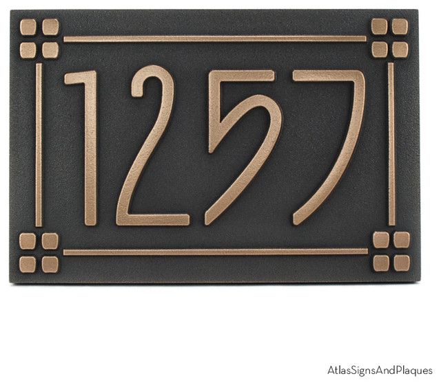 american craftsman address plaque with lines 12 x 8 in. Black Bedroom Furniture Sets. Home Design Ideas