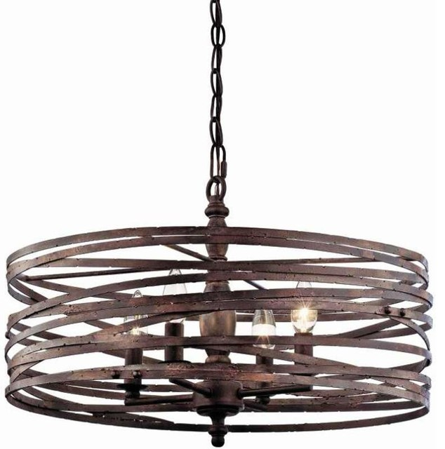 Pasco Four Light Strap Cage Chandelier Weathered Iron