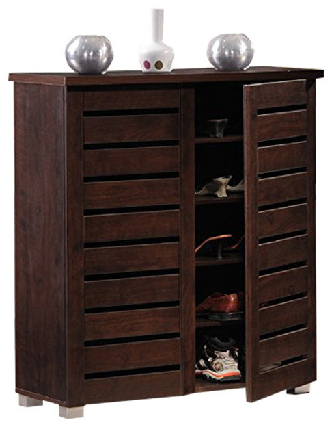 Adalwin Contemporary 2-Door Dark Brown Wooden Entryway ...