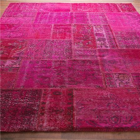 Reclaimed Vintage Patchwork Over Dyed Rug Contemporary