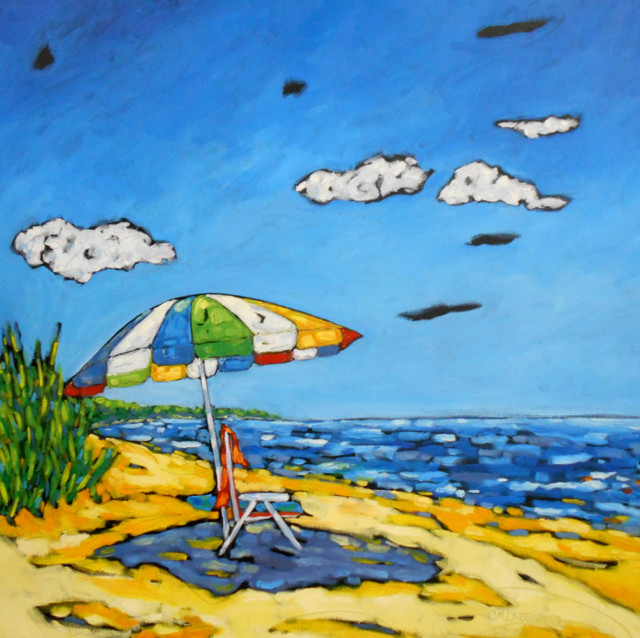 Canvas Painting Umbrella And Chairs Beach
