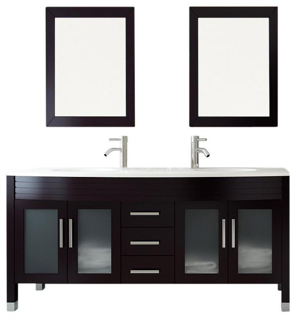 Grand Regent Double Sink Bathroom Vanity With Phoenix Stone Top 63 Contemporary Bathroom