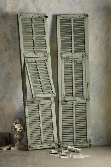 Martinique slatted shutters for Decorative interior wall shutters