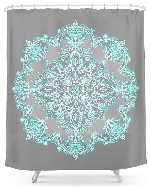 Society6 Teal And Aqua Lace Mandala On Gray Shower Curtain