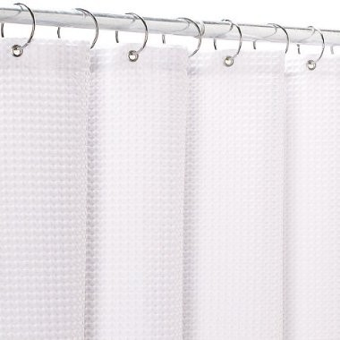 White Waffle Weave Fabric Shower Curtain Shower Curtains