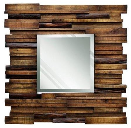 Reclaimed slat wood mirror contemporary wall mirrors for Wooden mirror