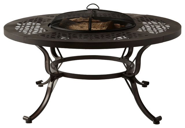 Lorraine 48 In Outdoor Wood Burning Fire Pit Table With Wood Grate Traditional Fire Pits