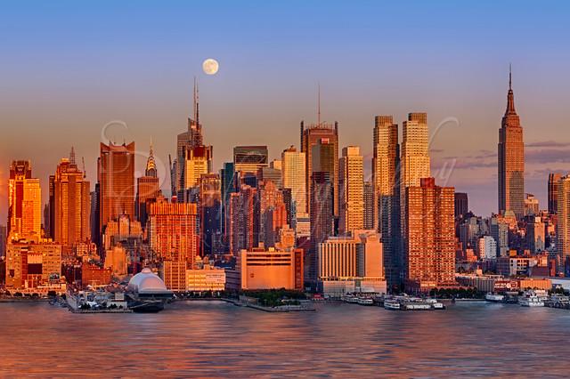 New York City Skyline Full Moon And Sunset Contemporary
