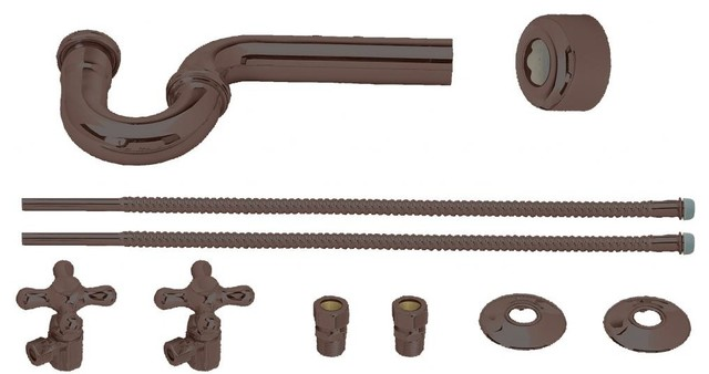 Victorian Pedestal Lavatory Kit - Cross Handles In Oil Rubbed Bronze - Traditional - Bathroom ...
