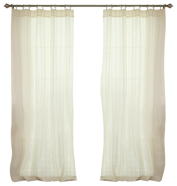 Eyelet mini flower embroidered cut out rod pocket curtain