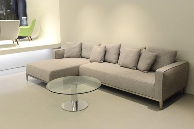 California Cream Tweed Fabric Sectional Sofa Modern Sectional Sofas New