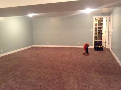 Help carpet is too dark kids basement rec room for Wall to wall carpet colors