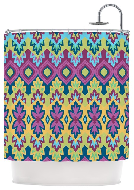 Amanda Lane Boho Chic Purple Yellow Shower Curtain Contemporary