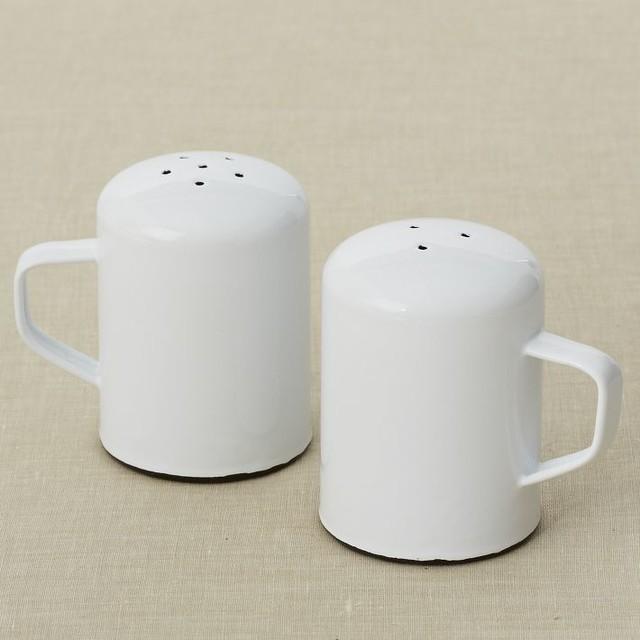 Enamelware salt pepper shaker modern salt and pepper Designer salt and pepper shakers
