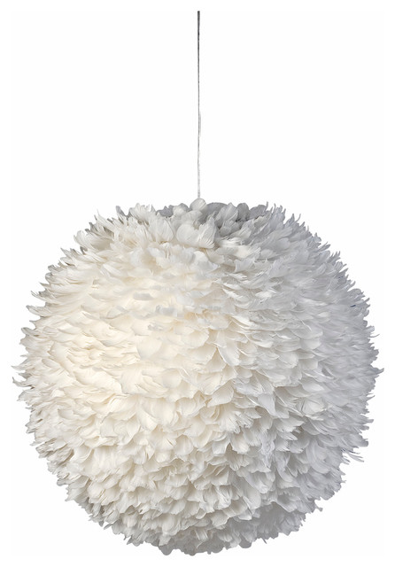 Luminaire boule plumes blanche contemporain suspension for Luminaire suspension boule
