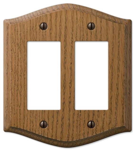 Country medium finish oak wood rocker wall plate