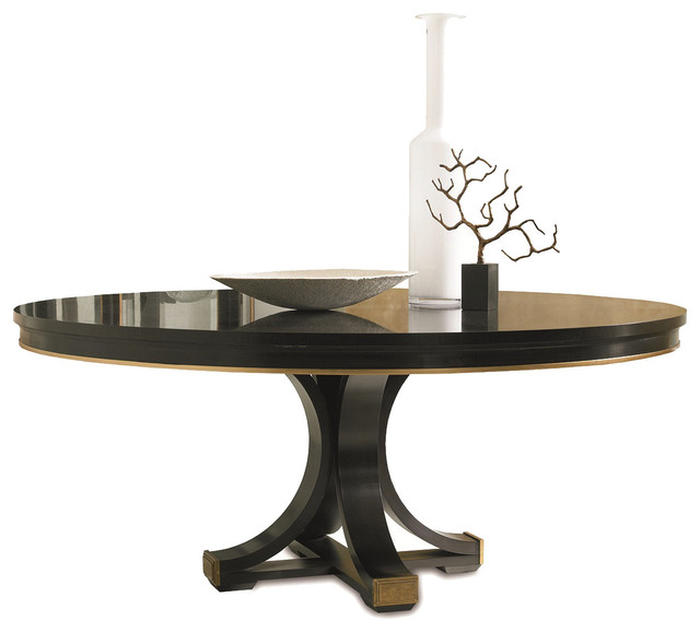 Hickory White Celia Pedestal Base And 72 Dia Walnut Top Dining Table T