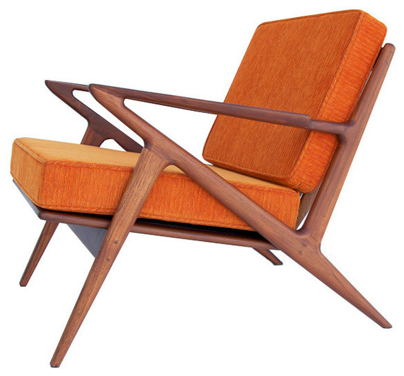 Mid Century Chair: Z Accent Chair, Electric Orange