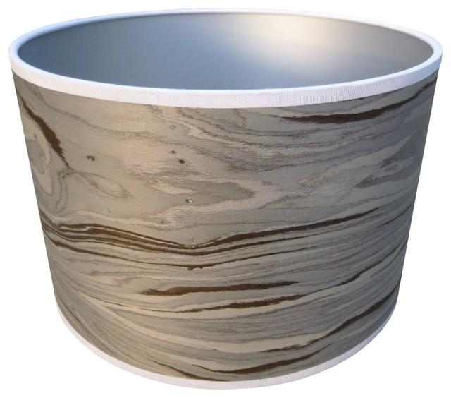 Designer Grey Veneered Drum Shade Modern Lamp Shades