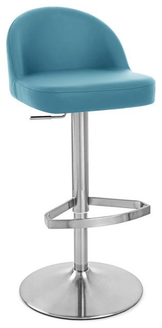 Mimi adjustable height swivel armless bar stool teal modern bar stools and counter stools - Teal blue bar stools ...