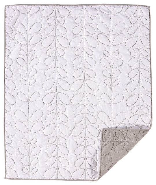 Cotton poplin quilted comforter white grey moderne for Parure de lit moderne