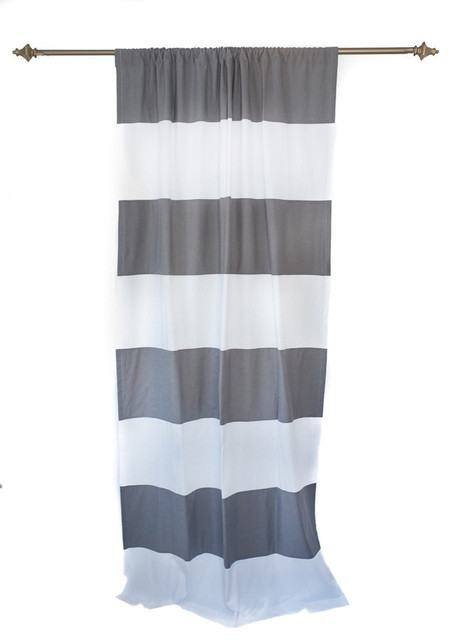 Grey and white horizontal stripe curtain panel transitional curtains