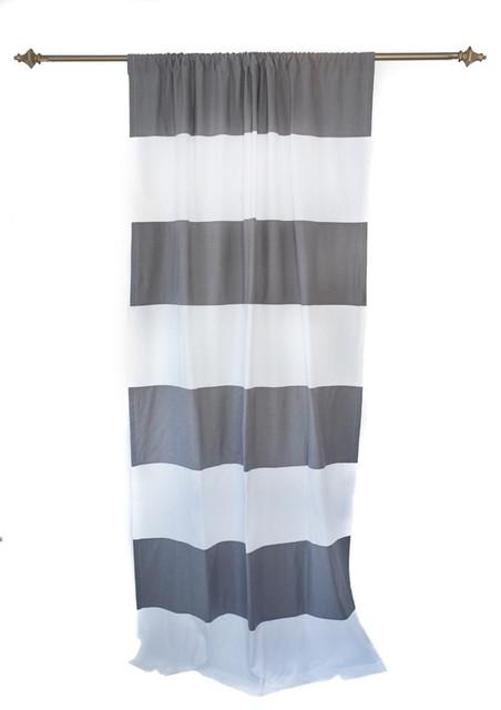 Organic Dark Grey and White Horizontal Stripe Curtain Panel ...