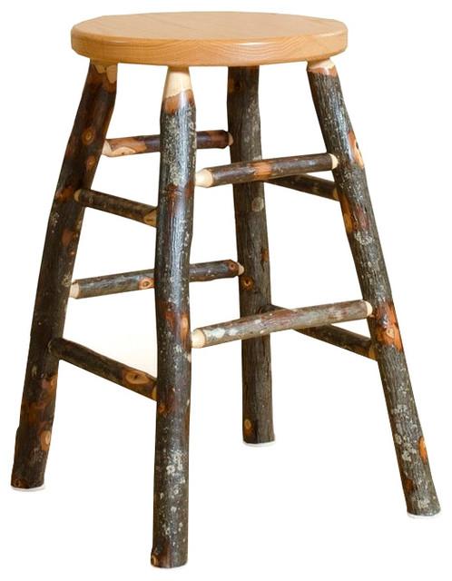 Hickory Log Kitchen Stool Bar Height OAK SEAT Amish Made Rustic Bar St