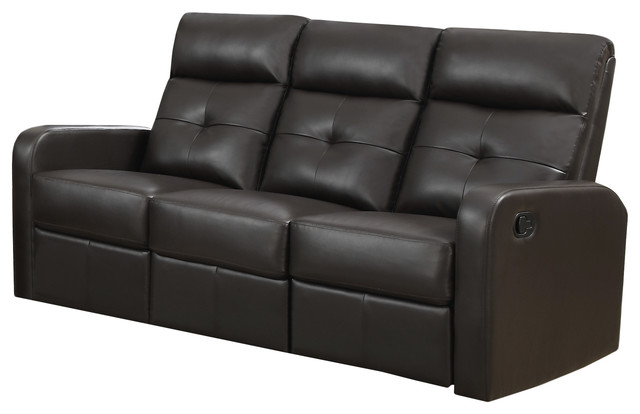 Bonded leather reclining sofa brown contemporary for Contemporary reclining sofas