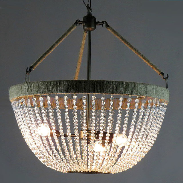 Antique Country And Hemp And Iron Art Crystal Chandelier