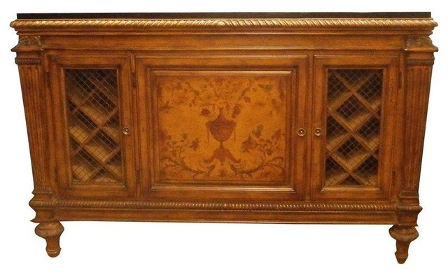 Wood & Marble Credenza with Wine Rack - Traditional ...