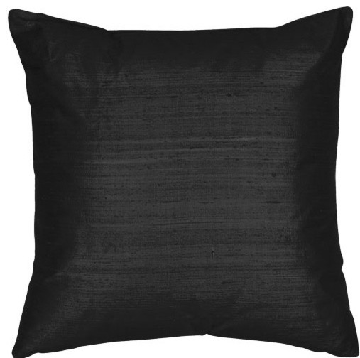 Black 18x18-Inch Silk Dupioni Square Poly Insert Decorative Pillow - Traditional - Bed Pillows ...