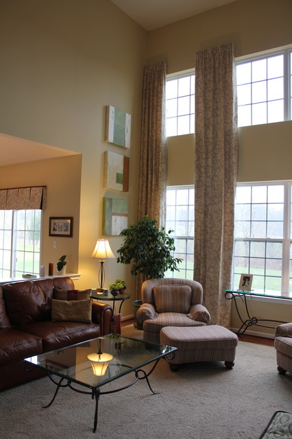 2 story family room drapes - eclectic - curtains - philadelphia