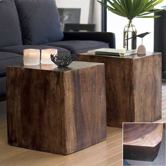Convertible Wood Cube Contemporary Side Tables And End