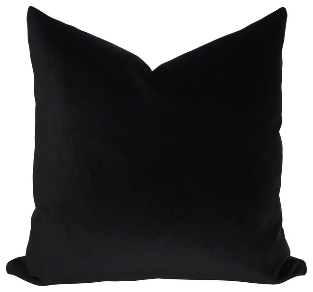 Plain Black Throw Pillow : JB Martin Solid Black Velvet Throw Pillow - Transitional - Decorative Pillows - by Joan Romano