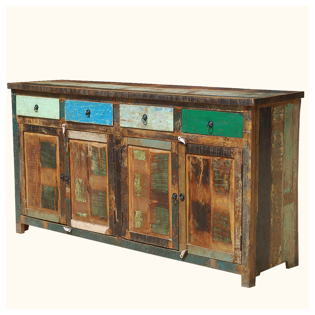 Appalachian Rustic Multi Color Old Wood 73 Buffet Cabinet Rustic