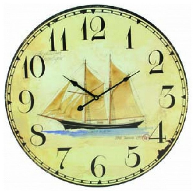 wooden vintage schooner wall clock 23 beach style wall clocks by handcrafted nautical decor. Black Bedroom Furniture Sets. Home Design Ideas