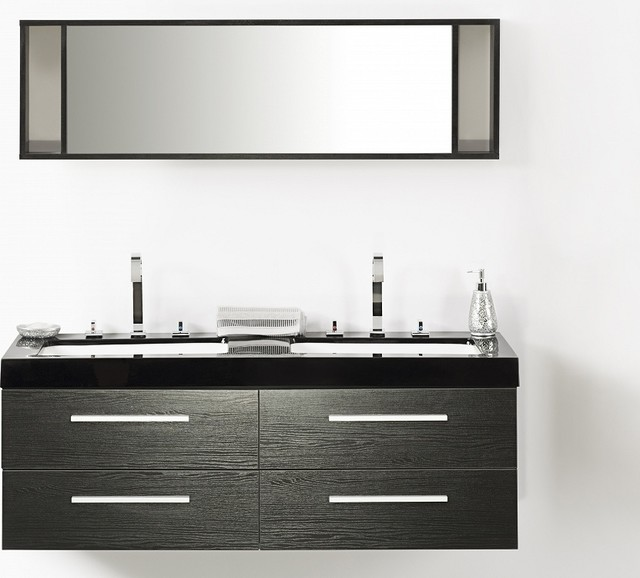 meuble double vasque tiroirs miroir inclus noir malaga contemporain console et. Black Bedroom Furniture Sets. Home Design Ideas