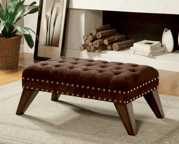 Traditional style upholstered fabric sitting bench brown for Ottoman to sit on