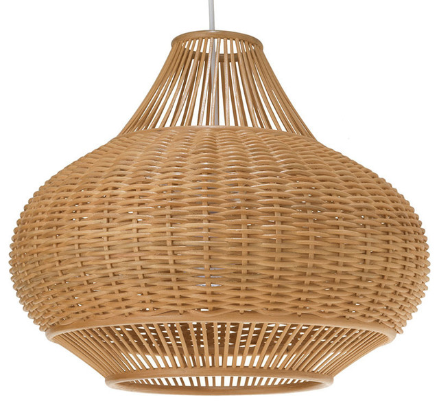 Wicker Pear Pendant Lamp, Natural