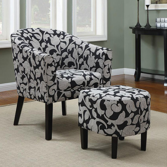 Black and White Barrel-Back Accent Chair With Ottoman ...