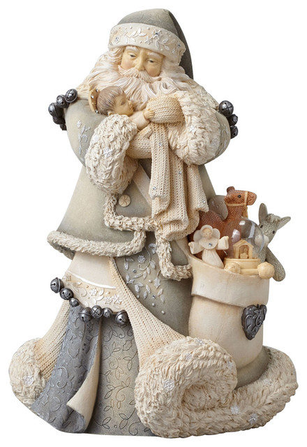Enesco Foundations Santa With Baby Jesus Masterpiece Figurine Traditional Holiday Accents