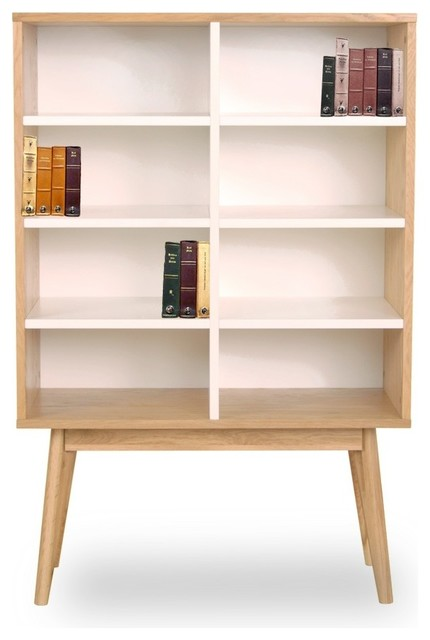 biblioth que design scandinave bois 8 niches skoll couleur blanc scandinave biblioth que. Black Bedroom Furniture Sets. Home Design Ideas