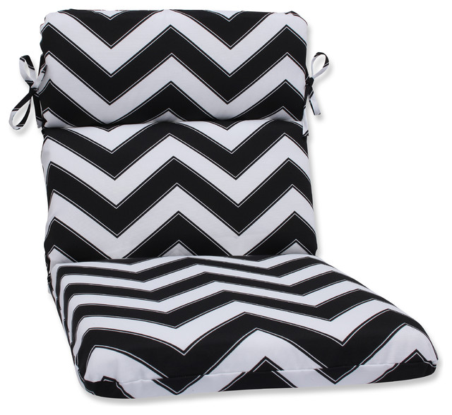 Chevron Black and White Rounded Corners Chair Cushion