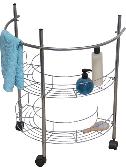 Under Sink Rolling Pedestal Storage Unit, Wire Metal Chrome - Contemporary - Bathroom Cabinets ...